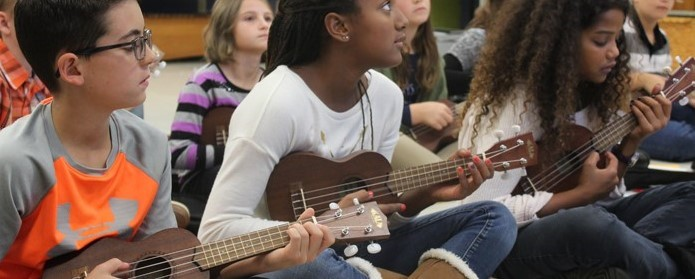 Students at Dormont Elementary Play Ukuleles