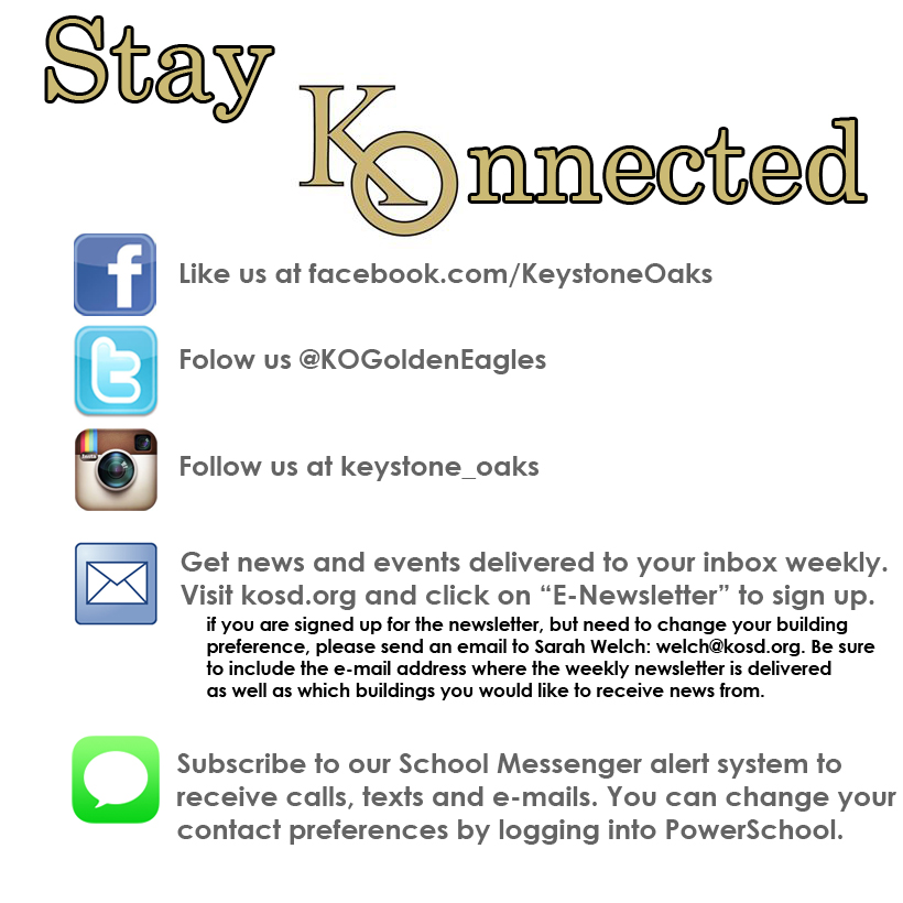 Stay connected with Keystone Oaks this school year.