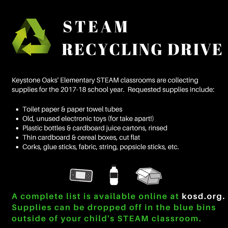 The Elementary STEAM program is collecting your recyclables.